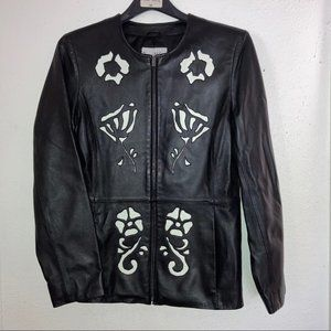 Pamela McCoy SOFT Leather Moto Cut Out Jacket SM